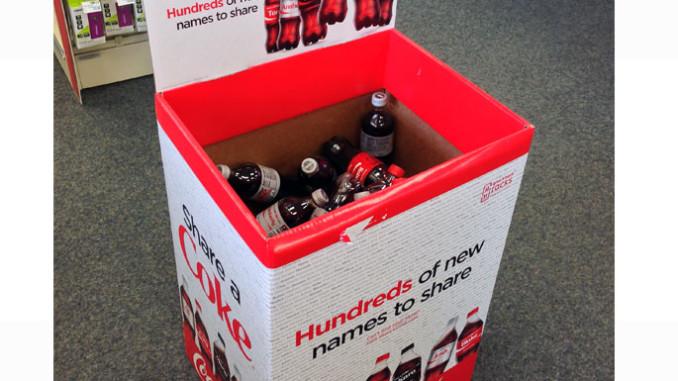 Share a Coke Sqaure Dump Bin Display