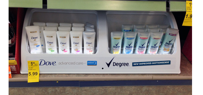 Dove and Degree Shelf Display