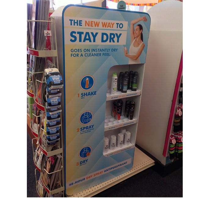 Dove Stay Dry Campaign Shelf Display