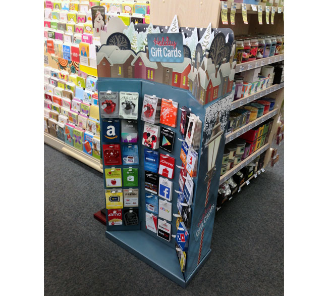 Holiday Gift Cards Village Floor Display