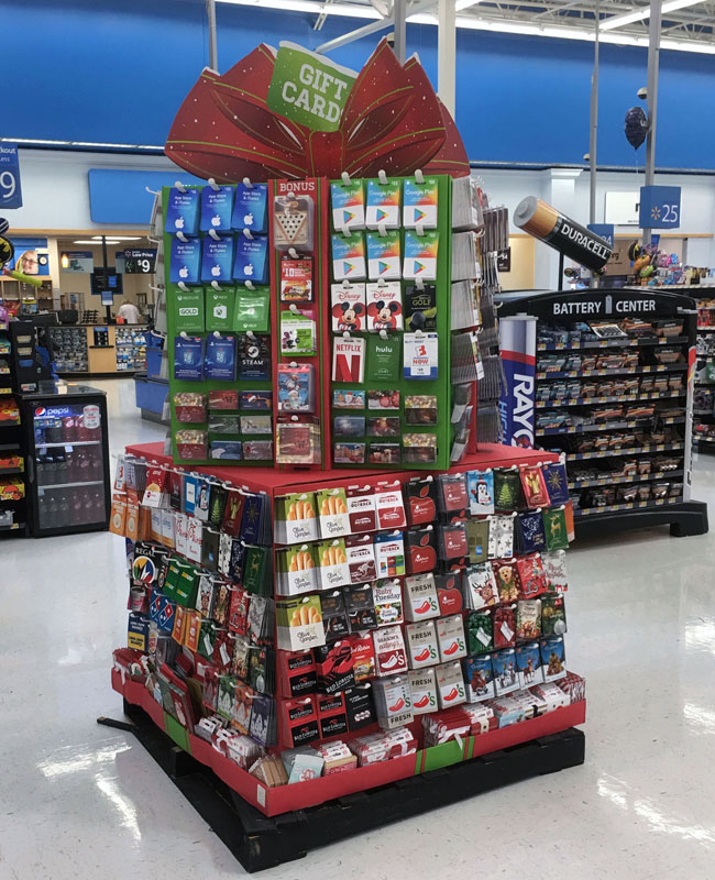 Multi-Tier Holiday Gift Card Pallet Display