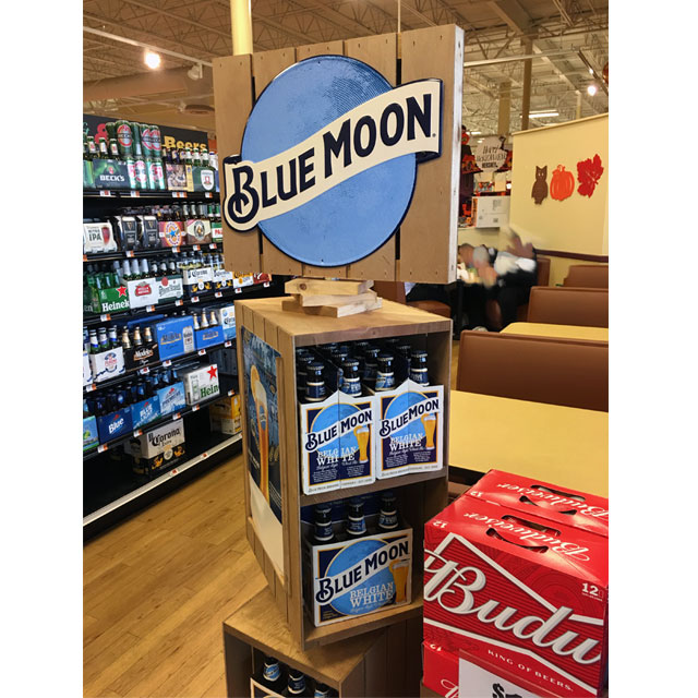 Blue Moon Wood POP Display