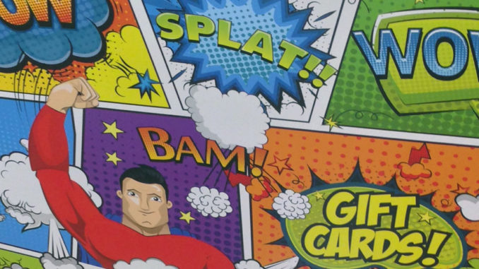Pow Splat Wow Gift Card Display